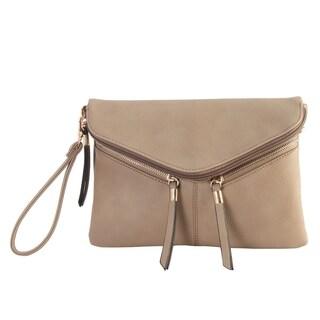 Diophy Double Zipper Flap Womens Cross Body Handbag - M
