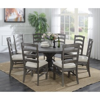 """Emerald Home Paladin Rustic Charcoal Gray 60"""" Round Dining Table with 60"""" Top And Farmhouse Trestle Base - rustic charcoal gray"""