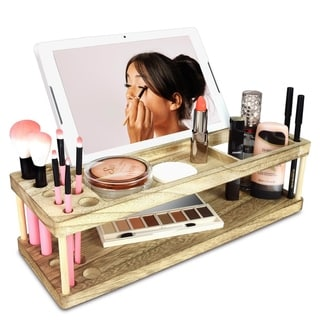 Wooden Beauty Station Makeup Brush Organizer with Phone and Device Station, Assembly Requires