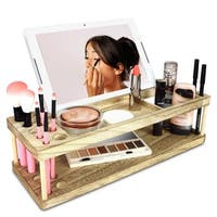 Ikee Design Wooden Beauty Station Makeup Brush Organizer With Phone and Device Station, Assembly Requires