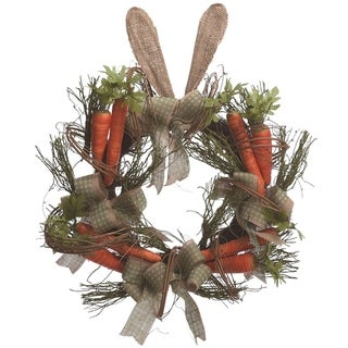 "Transpac 22"" Carrot Bunny Ear Wreath"