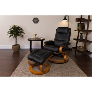 Porch & Den Elmhurst Contemporary Black Leather Recliner and Ottoman