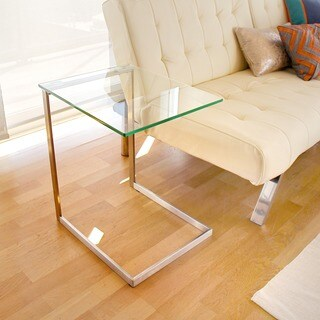 Porch & Den Birchshire Stainless Steel/ Glass End Table