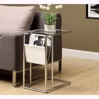 Porch & Den Lochwood Clearbrook White and Chrome Metal Accent Table and Magazine Holder