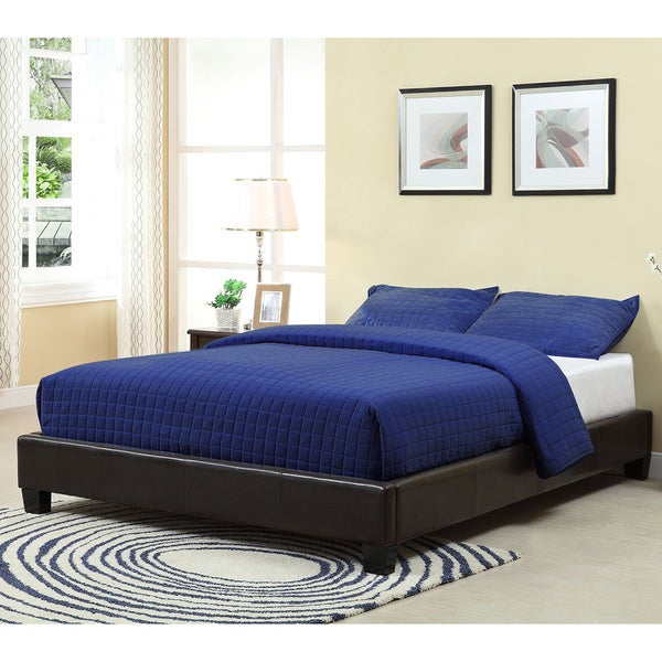 Shop Basic Platform Bed With Synthetic Leather Upholstery Free