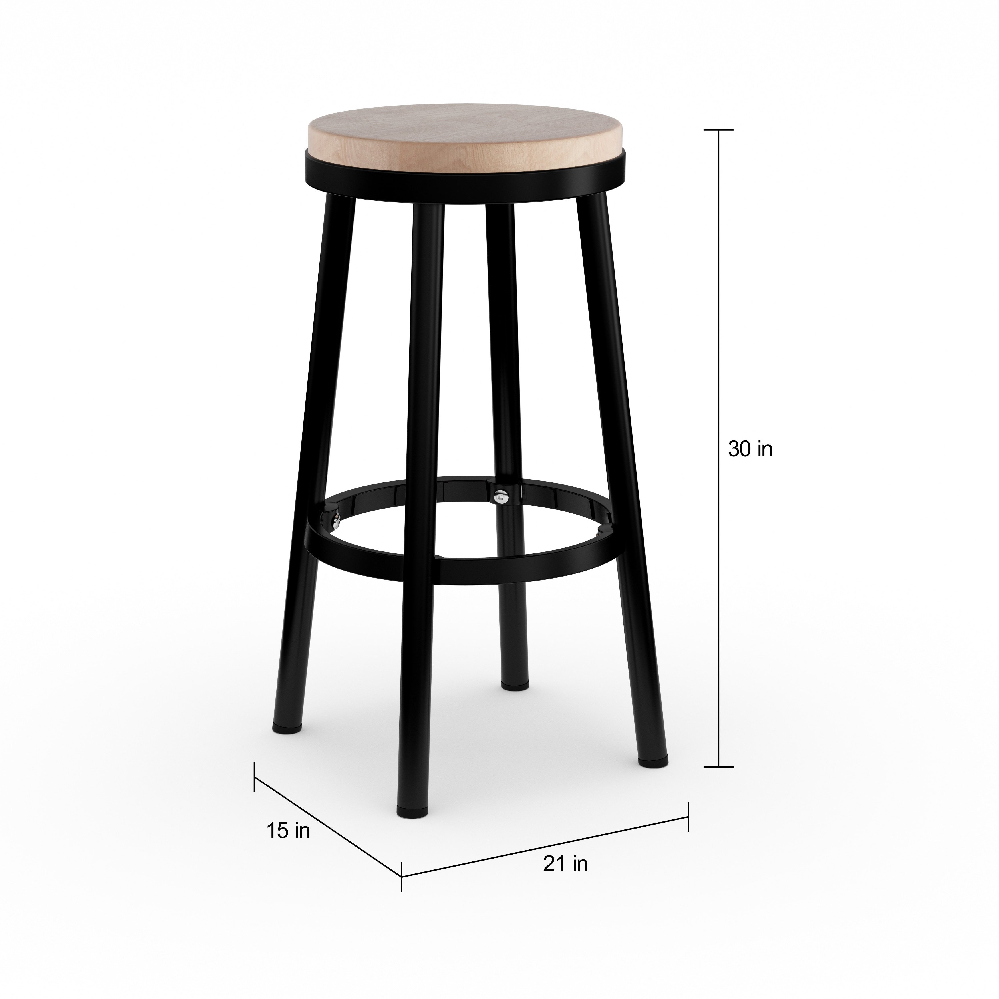 Magnificent Porch Den Mcmicken Modern 30 Inch Round Backless Metal Bar Stool With Footrest Squirreltailoven Fun Painted Chair Ideas Images Squirreltailovenorg