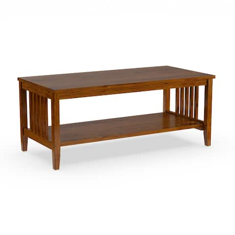 Porch & Den Clifton Mission Medium Oak Finish Coffee Table