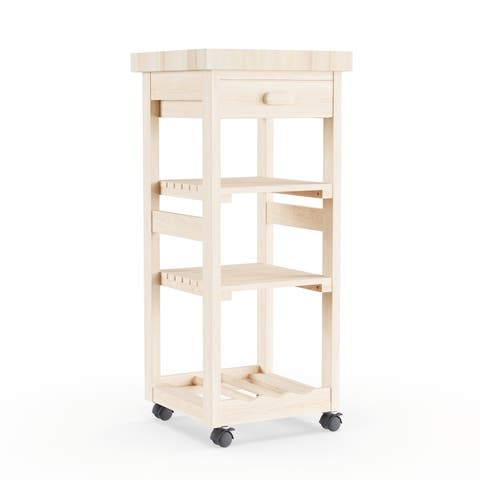 Porch & Den Estelle Unfinished Solid Parawood Kitchen Trolley