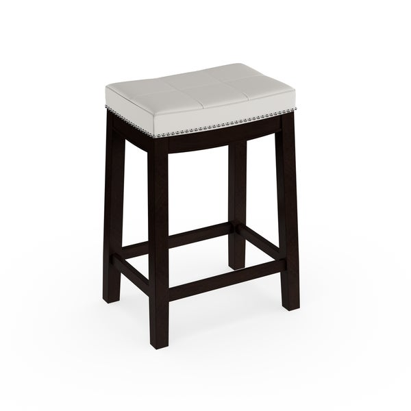 shop copper grove apodaca backless white vinyl seat counter stool free shipping today. Black Bedroom Furniture Sets. Home Design Ideas
