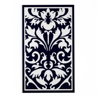 Porch & Den Putnam Black/ White Damask Area Rug