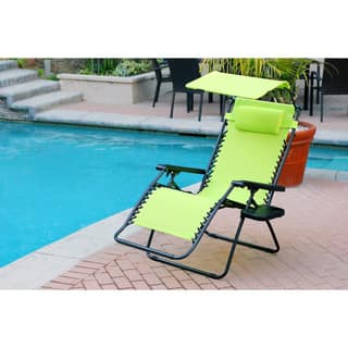 Havenside Home Garden City Oversized Zero Gravity Chair with Sunshade and Drink Tray