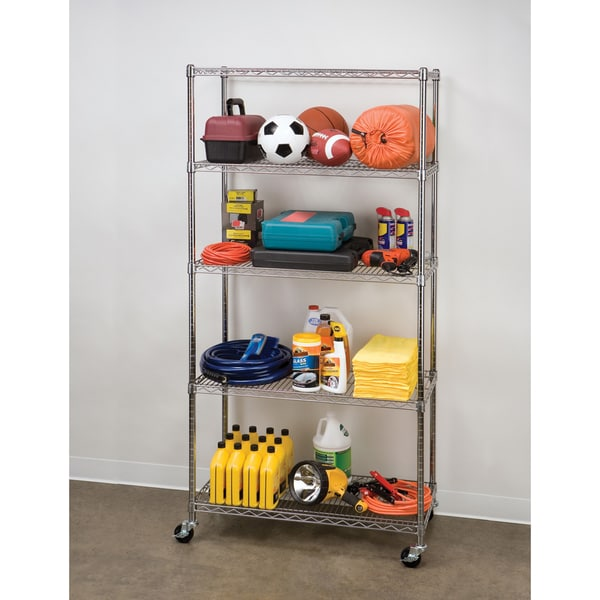 Seville Classics 5-Tier UltraZinc NSF Steel Wire Shelving /w Wheels, 18x36x72