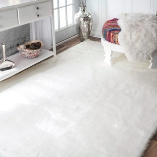 Silver Orchid Russell Faux Flokati Sheepskin Solid Soft and Plush Cloud Shag Rug - 3' x 5'
