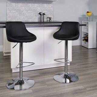 Porch & Den Stonehurst Denny Upholstered Bucket Seat Swivel Bar Stool