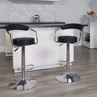 Porch & Den Edes Upholstered Retro Swivel Bar Stool