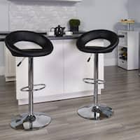 """Porch & Den Stonehurst Hale Upholstered Orbit Shape Swivel Bar Stool - 32 - 40.75""""H"""