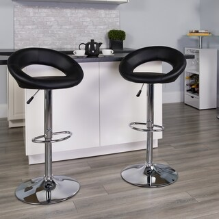 Carson Carrington Tune Upholstered Orbit Shape Swivel Bar Stool