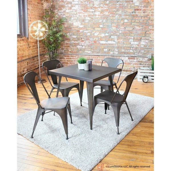 30 Ways To Create A Trendy Industrial Dining Room: Shop Carbon Loft Swan Industrial Square Metal Dining Table