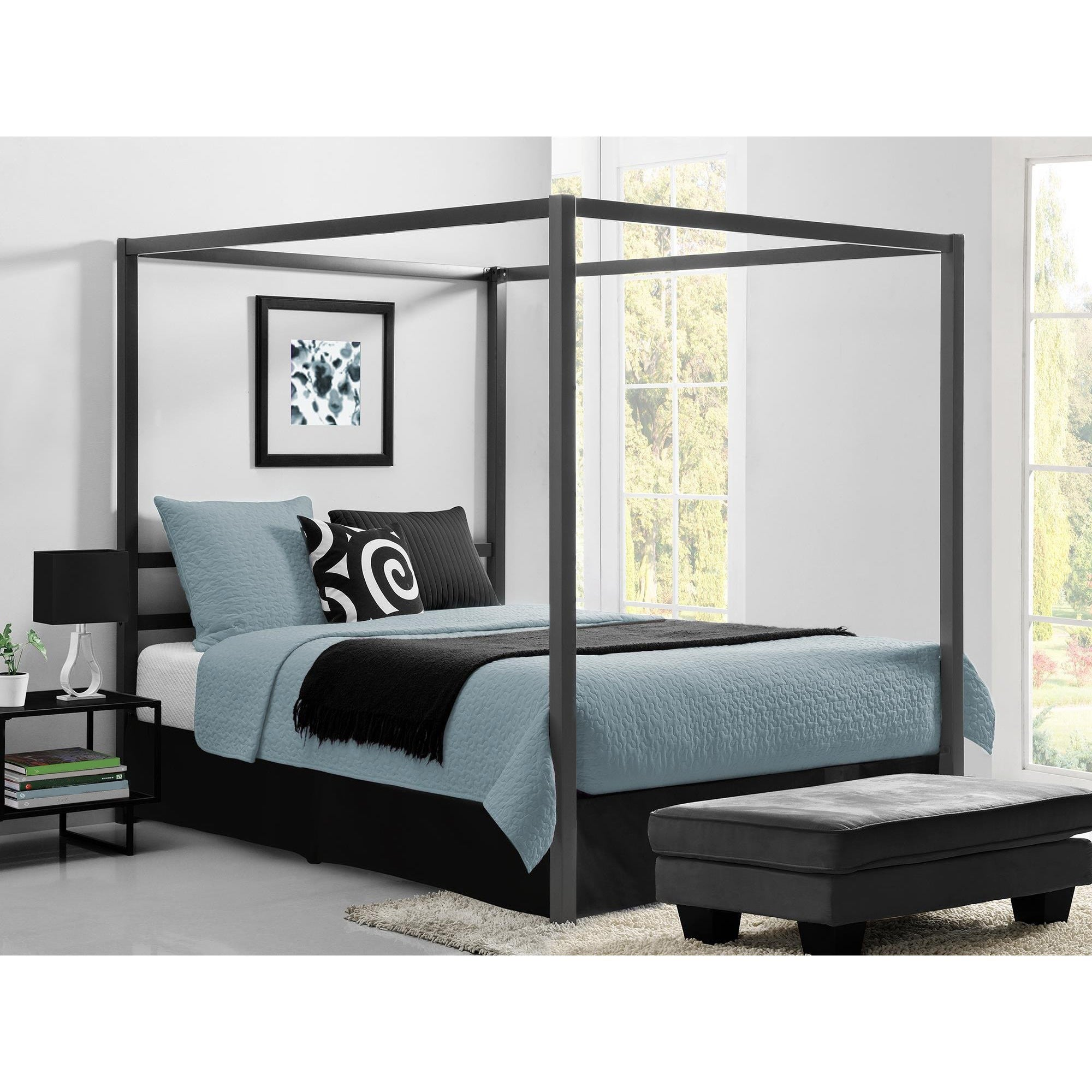 Canopy Bed.Shop Avenue Greene Gia Grey Metal Canopy Bed Overstock 20340116
