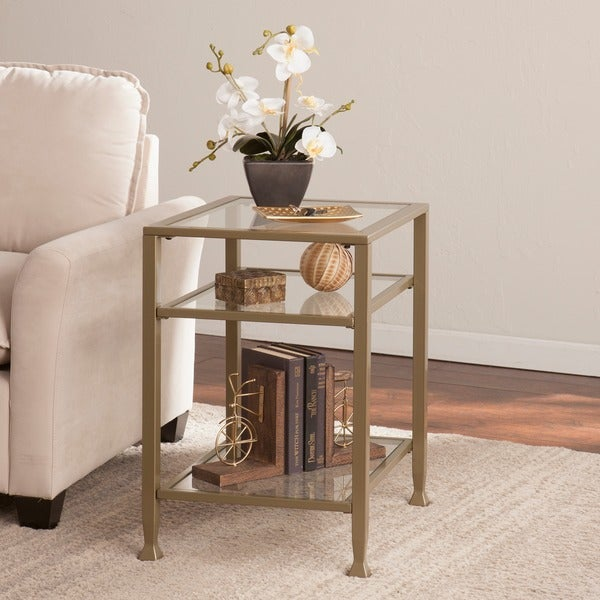 Shop Upton Home Matte Gold Metal Glass Side End Table Free