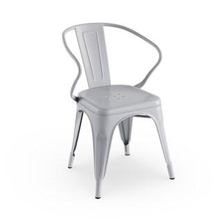 Porch & Den Stonehurst Caswell Industrial Stackable Metal Armchair