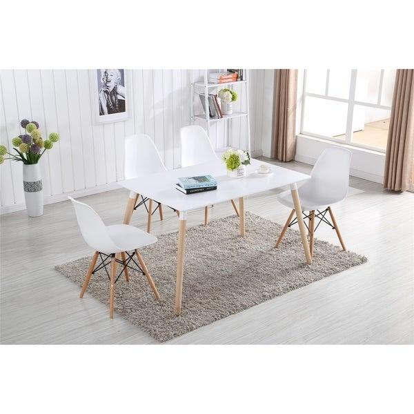 Carson Carrington Fossdal Molded Plastic Wood Eiffel Legs Dining Chair Set Of 2 Or