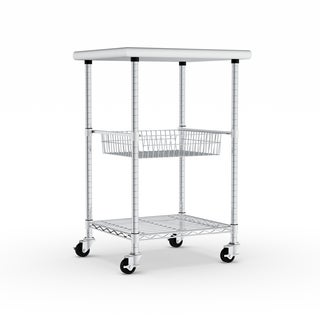 Porch & Den Chesterfield Allerton Stainless Steel Kitchen Work Table Cart