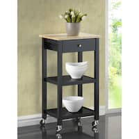 Porch & Den Botanical Heights Rutger Wood Wheeled Kitchen Cart
