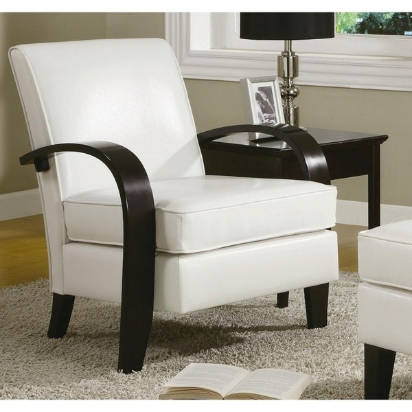 Porch U0026amp; Den Botanical Heights Klemm White Bonded Leather Accent Chair  With Wood Arms