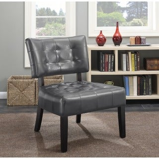 Porch & Den McRee Faux Leather Tufted Slipper Chair with Oversized Seating
