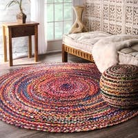 The Curated Nomad Grove Handmade Braided Multicolor Rug - 8' Round