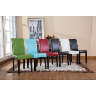 Urban-Style Solid Wood Leatherette Small Padded Parson Chairs (Set of 2)