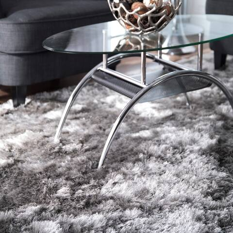 Silver Orchid Stewart Handmade Soft and Plush Silken Solid Shag Silver Rug