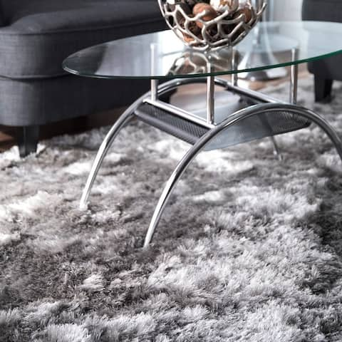 Silver Orchid Stewart Handmade Soft and Plush Silken Solid Shag Silver Area Rug