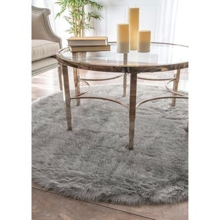 Silver Orchid Russell Cozy Soft and Plush Faux Sheepskin Shag Grey Rug (5' Round)