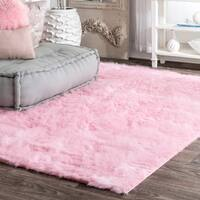 Silver Orchid Russell Cozy Soft and Plush Faux Sheepskin Shag Kids Nursery Pink Rug (8'6 x 11'6)