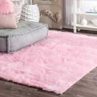 Silver Orchid Russell Cozy Soft and Plush Faux Sheepskin Shag Kids Nursery Pink Rug (5' x 7') - 5' x 7'