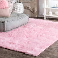 Silver Orchid Russell Cozy Soft and Plush Faux Sheepskin Shag Kids Nursery Pink Rug (3' x 5') - 3' x 5'