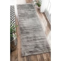 Shop Hand Crafted Solid Grey Blue Ridges Wool Area Rug 2