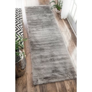 Silver Orchid Russell Cozy Soft and Plush Faux Sheepskin Shag Kids Nursery Grey Runner Rug - 2'6 x 8'