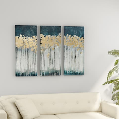 Strick & Bolton Midnight Forest Gold Foil Embellished 3-piece Canvas Set