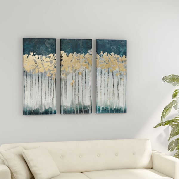 Porch & Den Midnight Forest Gold Foil Embellished 3-piece Canvas Set