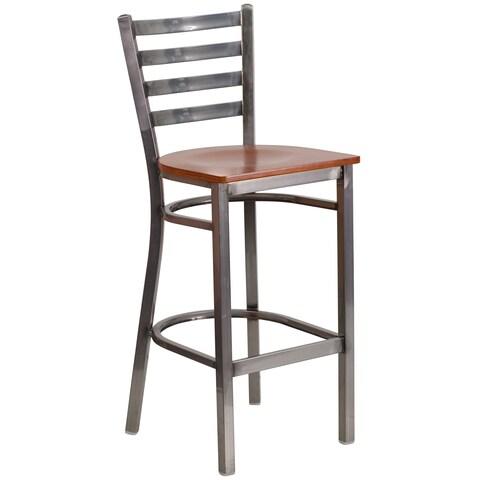 Porch & Den Maddux Metal/ Wood Ladder Back Bar Stool