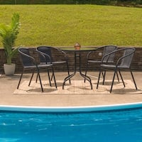 Havenside Home Bellport 5-piece Round Metal/ Glass Table with Rattan Chairs Set