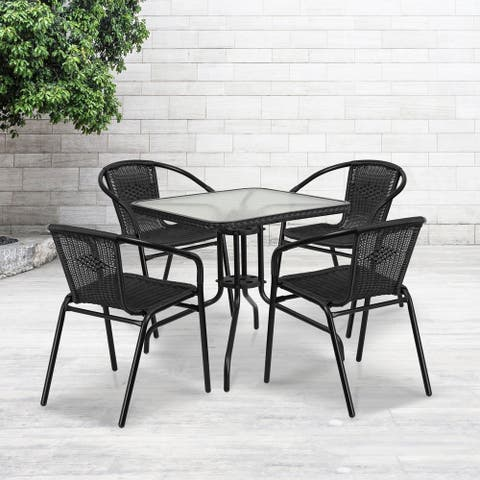Bellport Metal/ Glass 5-piece Square Patio Set with Rattan Chairs by Havenside Home