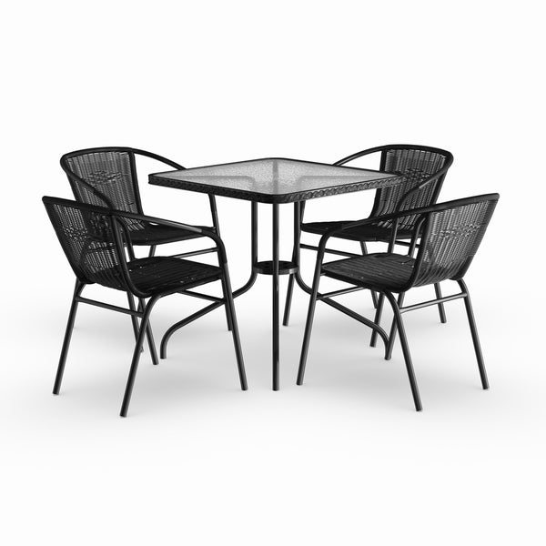 Havenside Home Bellport 5-piece Square Metal/ Glass Table with Rattan Chairs Set