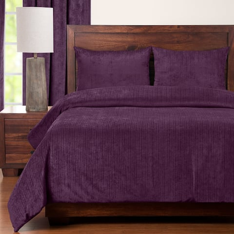 Draper Plum Soft Chenille-Like Fabric 6-Piece Duvet Cover Set