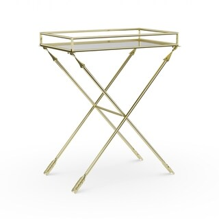 Silver Orchid Jalabert Arrow Metal Accent Table with Mirrored Tray Top