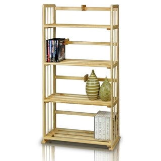 Porch & Den Allen Natural Solid Pinewood Bookshelf