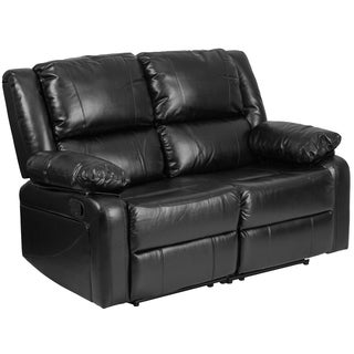 Porch & Den Stonehurst Gravenstein Leather Loveseat with Two Built-in Recliners